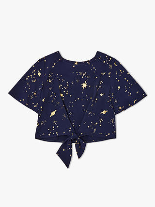 Buy John Lewis & Partners Girls' Celestial Print Top, Navy, 8 years Online at johnlewis.com