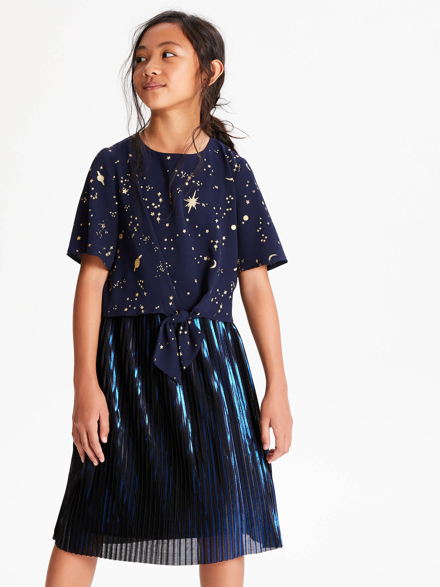 BuyJohn Lewis & Partners Girls' Celestial Print Top, Navy, 8 years Online at johnlewis.com