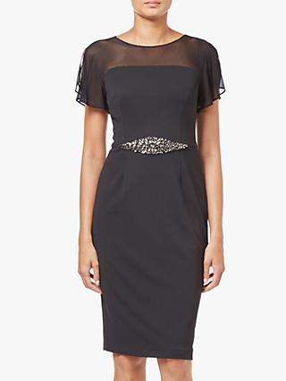Adrianna Papell Short Beaded Waist Crepe Dress, Black