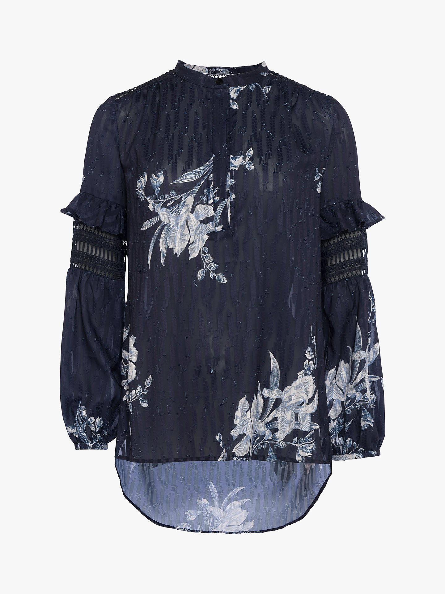 f521c739445 French Connection Ellette Mix Frill Floral Collarless Blouse ...