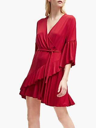 French Connection Ellette V-Neck Wrap Dress, Deep Framboise