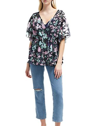 French Connection Georgette Wrap Top, Utility Blue