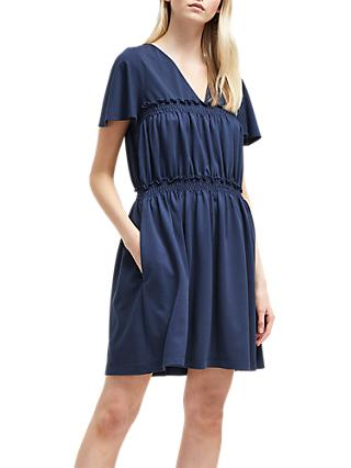 French Connection Aldyth V-Neck Dress, Utility Blue