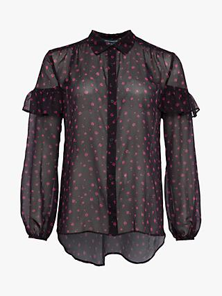 French Connection Florence Crinkle Blouse, Black Grape Multi
