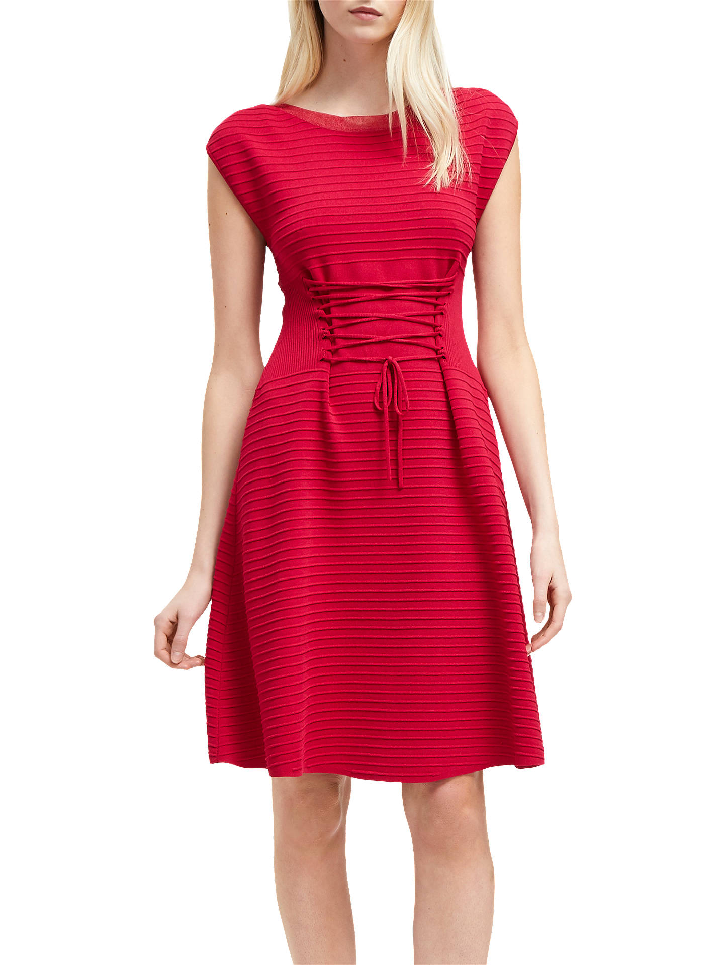 d181a852107 Buy French Connection Crepe Lace Up Dress, Mimosa Pink, 8 Online at  johnlewis.
