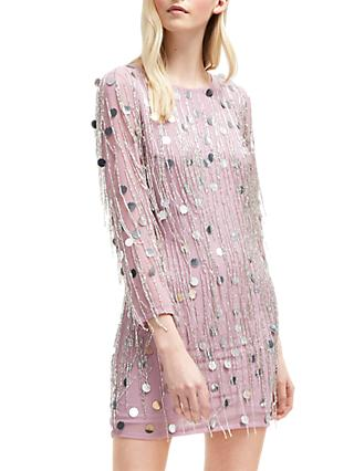 French Connection Baani Fringe Beaded Dress, Dark Lavender Frost