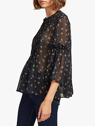 ec1b91ae4ca02 French Connection Mahi Pleated Sheer Blouse, Utility Blue/Gold