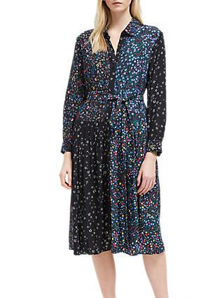 French Connection Aubine Pleated Midi Shirt Dress, Black/Multi