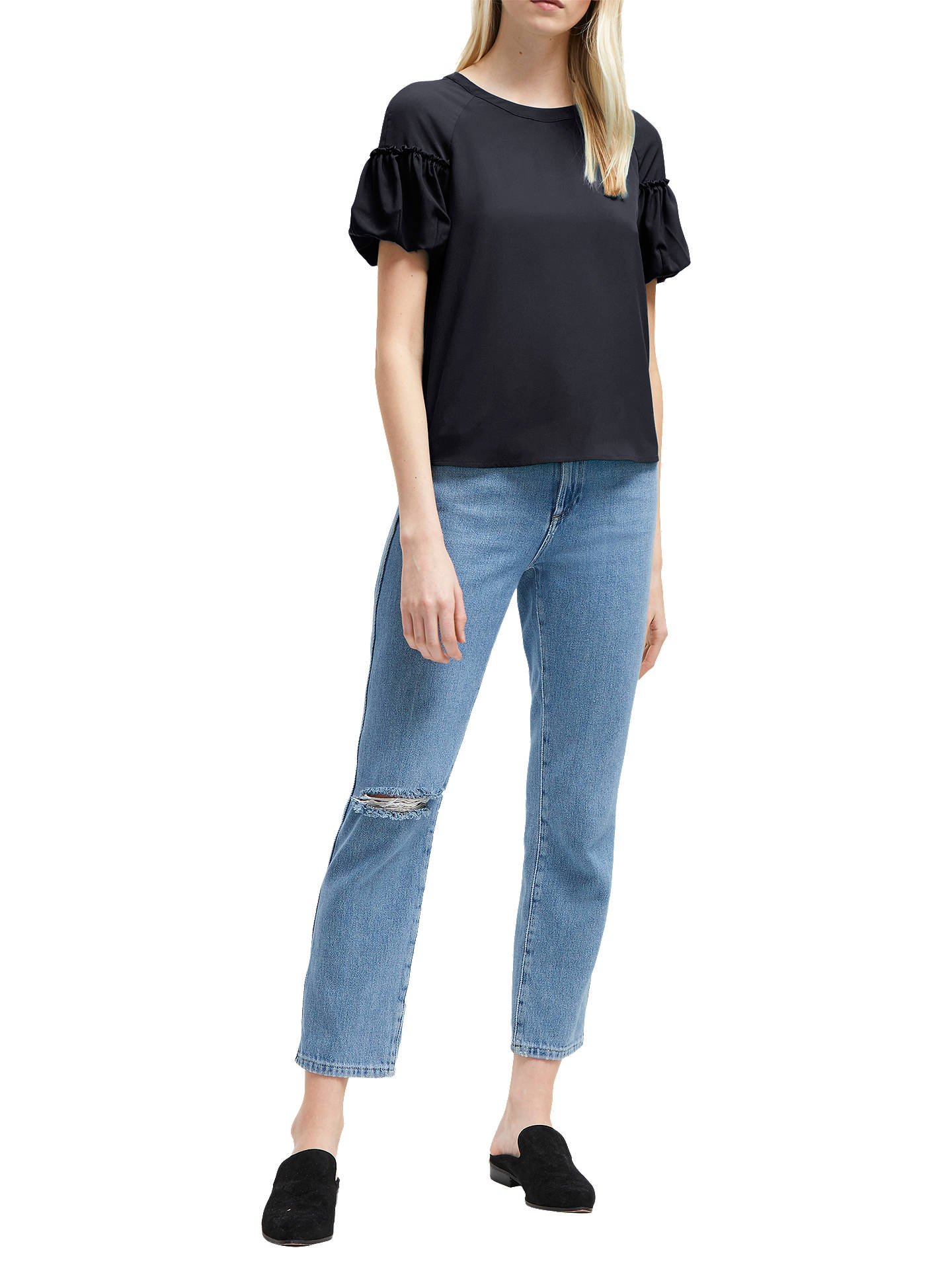 Buy French Connection Puff Sleeve Top, Utility Blue, 8 Online at johnlewis.com