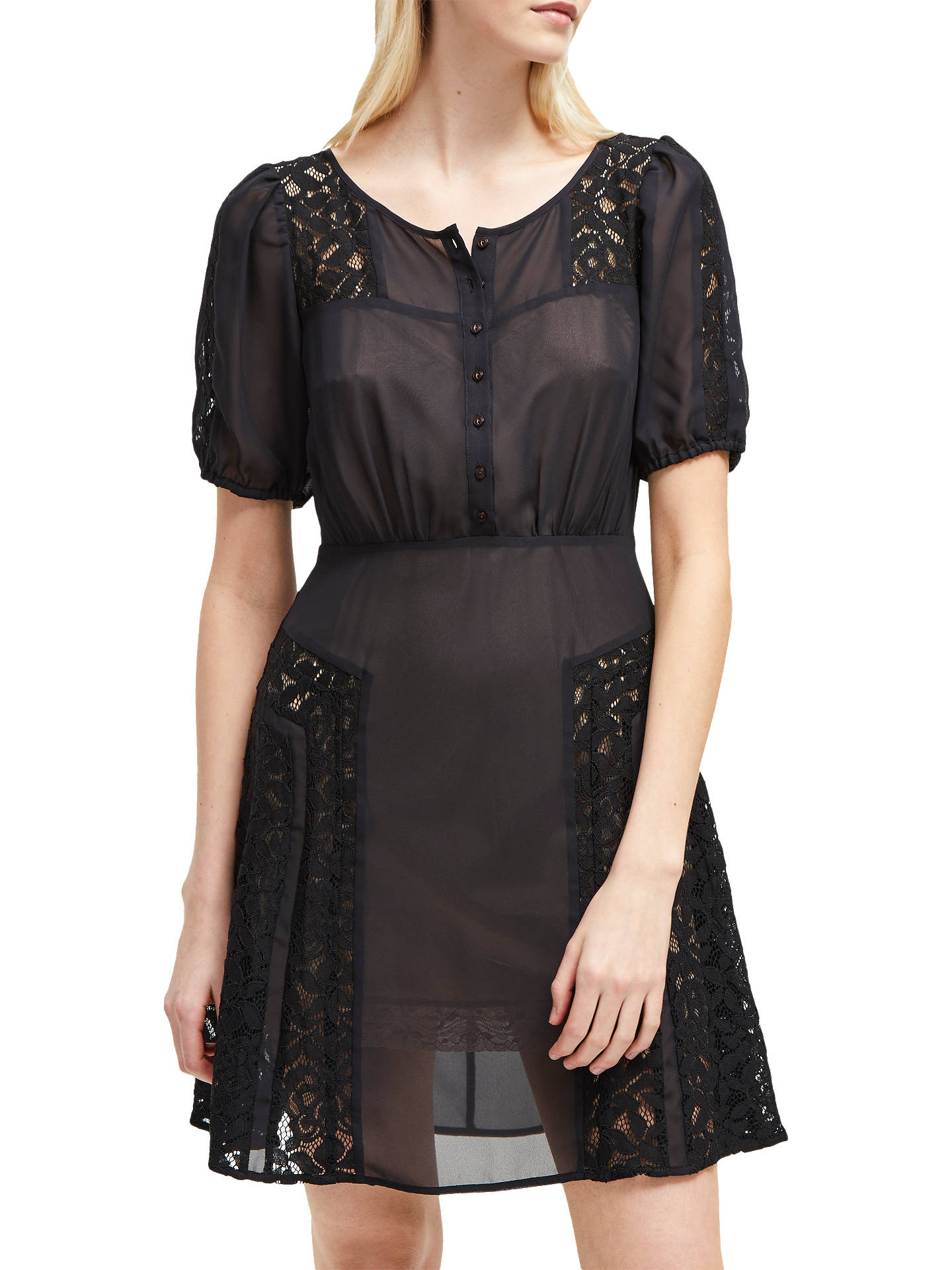 4fdd847c8a Buy French Connection Dawn Sheer Panelled Dress, Black, 6 Online at  johnlewis.com ...
