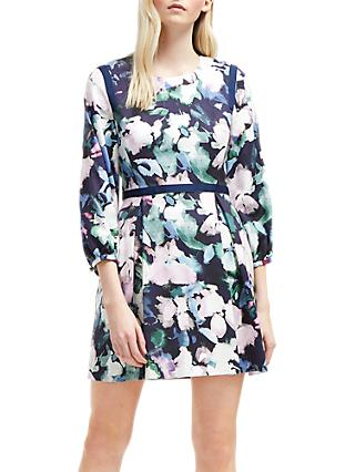 French Connection Dreda Print Fit Flare Dress,Utility Blue Multi