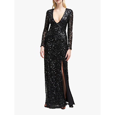 French Connection Helena Sequin V-Neck Maxi Dress, Black