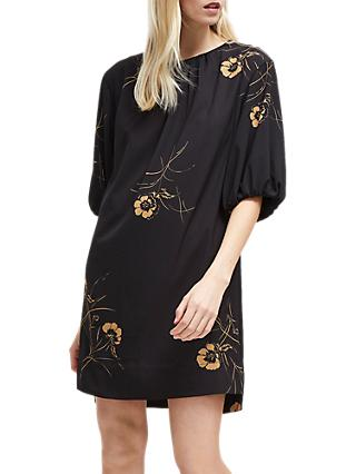 French Connection Mahi Crepe Tunic Dress, Utility Blue/Gold