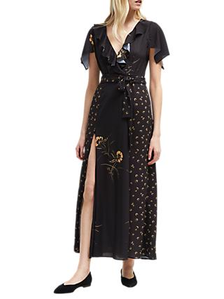 French Connection Mahi Crepe V-Neck Belted Maxi Dress, Utility Blue/Gold