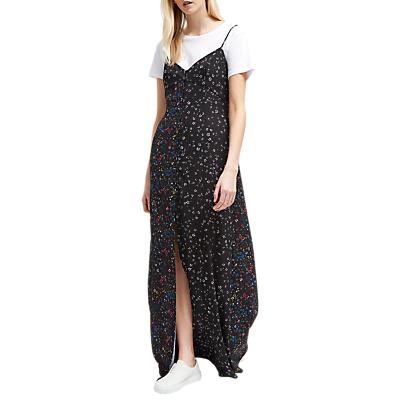 French Connection Aubine Fluid Maxi Slip Dress, Black Multi