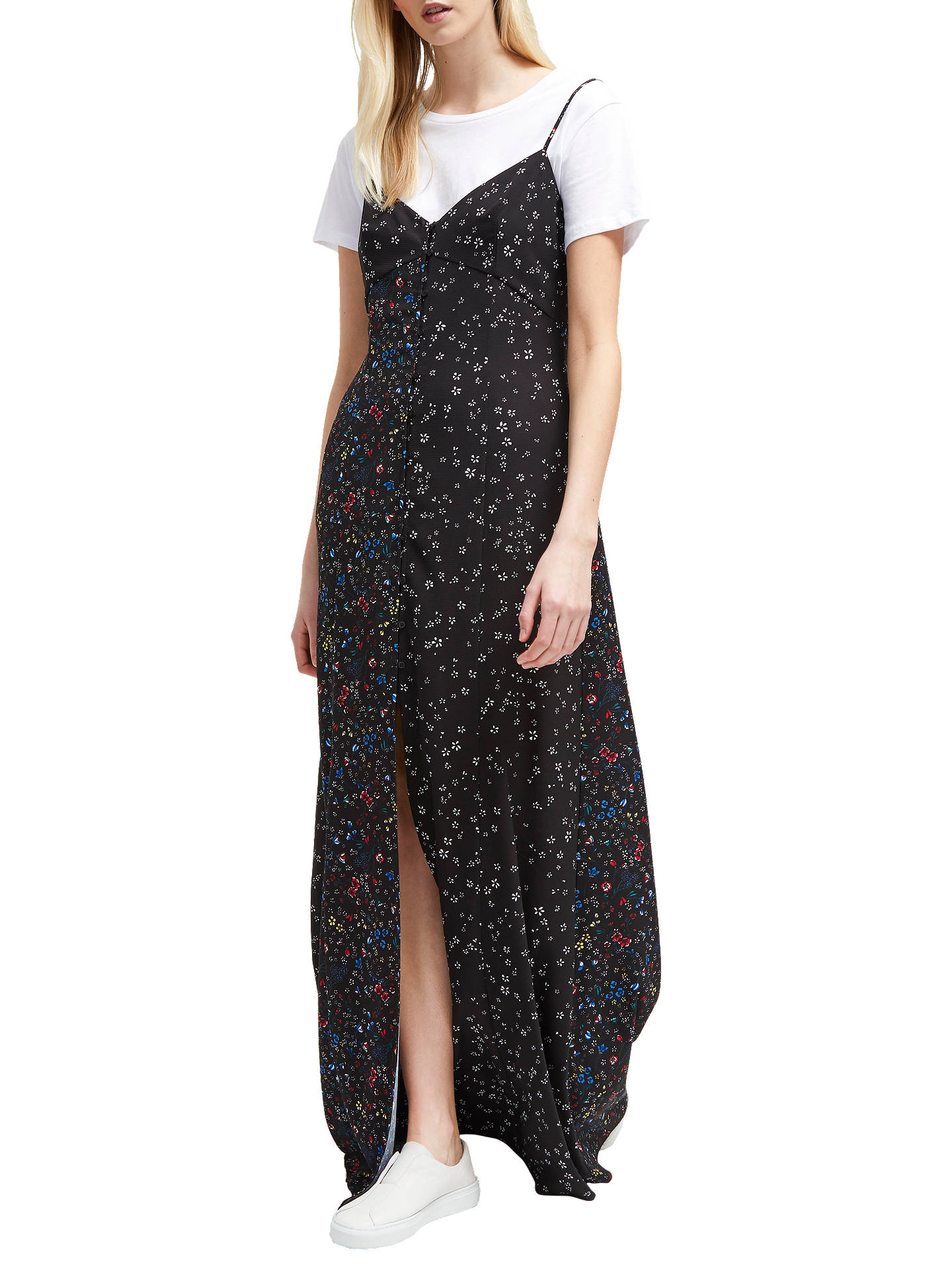 930f813d752 Buy French Connection Aubine Fluid Maxi Slip Dress, Black Multi, 6 Online  at johnlewis ...