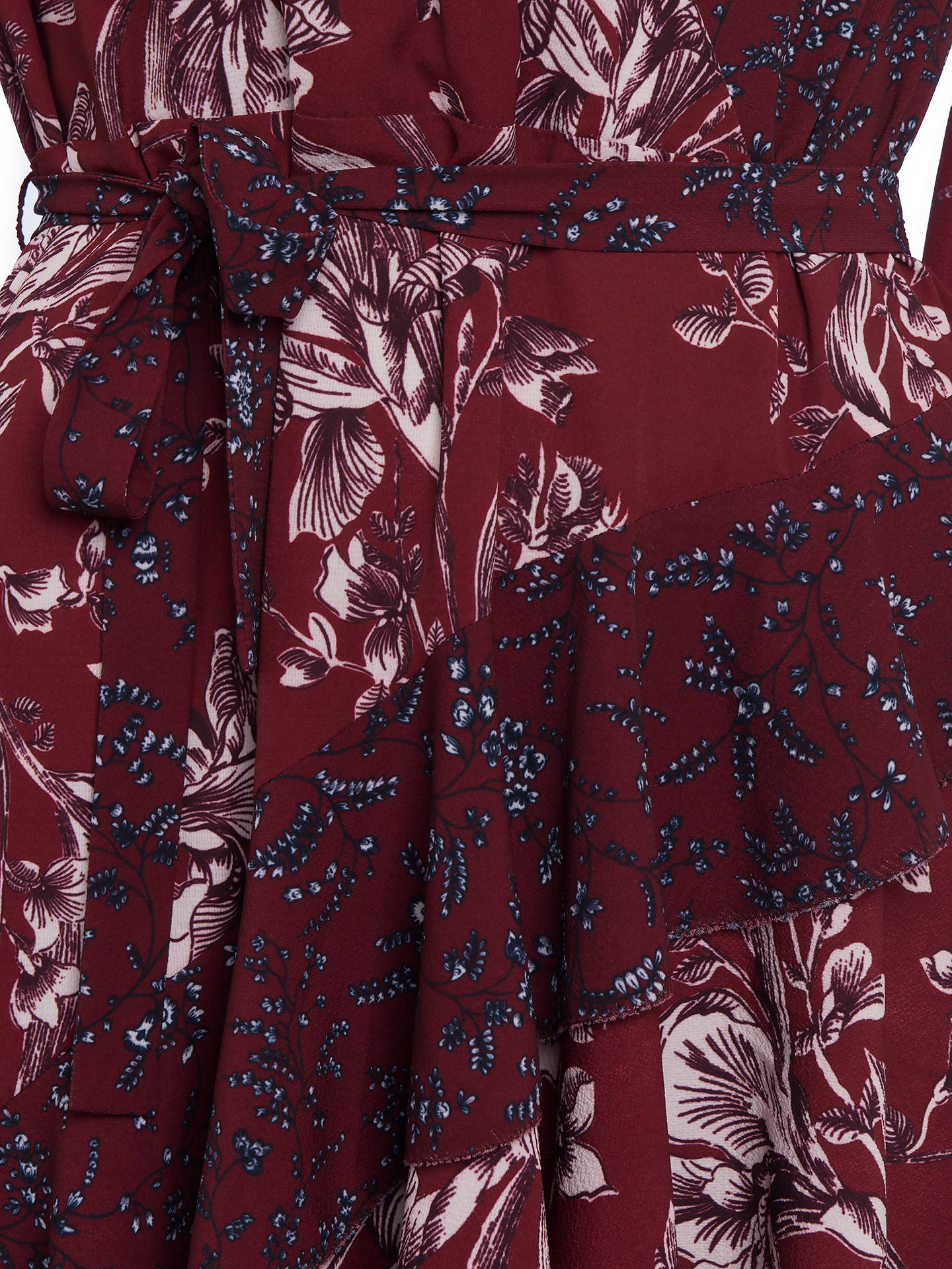 Buy French Connection Frill Wrap Floral Dress, Deep Framboise Multi, 6 Online at johnlewis.com