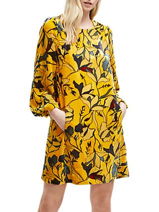 French Connection Aventine Velvet Balloon Sleeve Dress, Calluna Yellow Multi