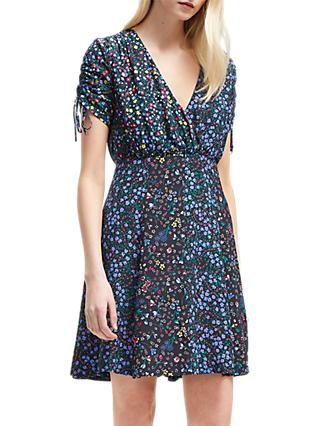 French Connection Aubine Draped Floral Dress, Black/Multi