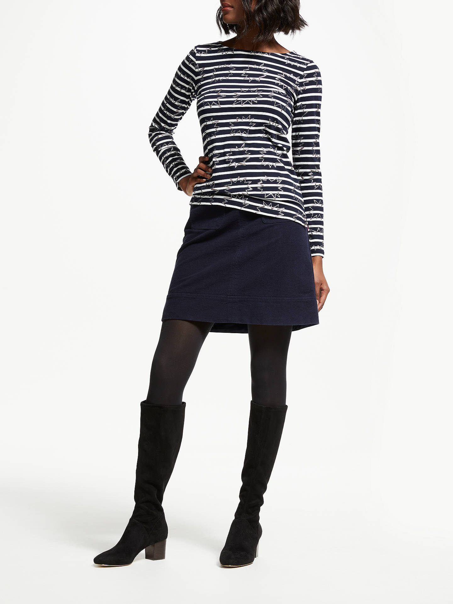 BuyBoden Long Sleeve Glitter Embroidered Breton Top, Blue/White, 8 Online at johnlewis.com