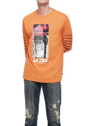 Diesel T-Large Muffinheads Long Sleeve T-Shirt, Orange