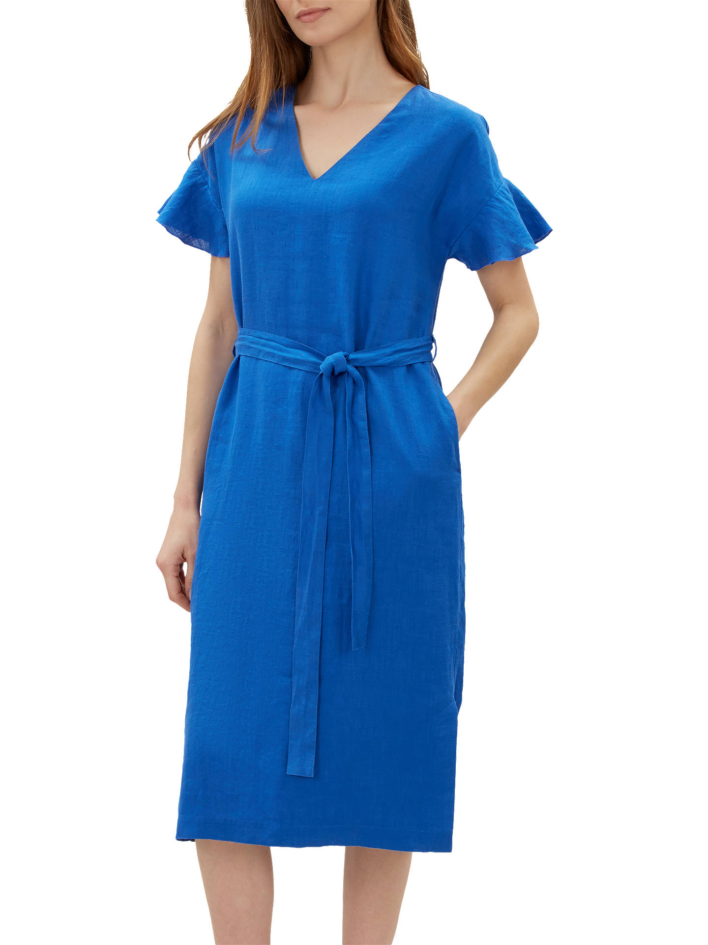 f2fe36181f6 Jaeger Frill Cuff Tie Waist Linen Dress at John Lewis   Partners