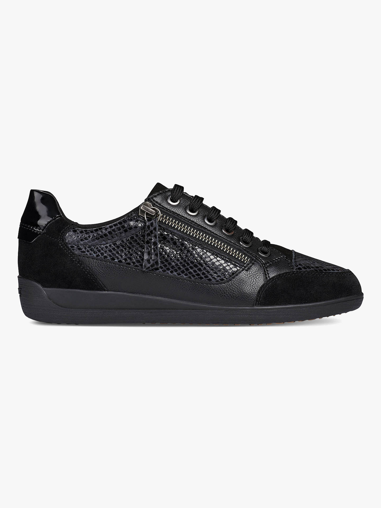 official photos e3bc2 b5ec1 Buy Geox Myria Zip Detail Trainers, Black, 7 Online at johnlewis.com ...
