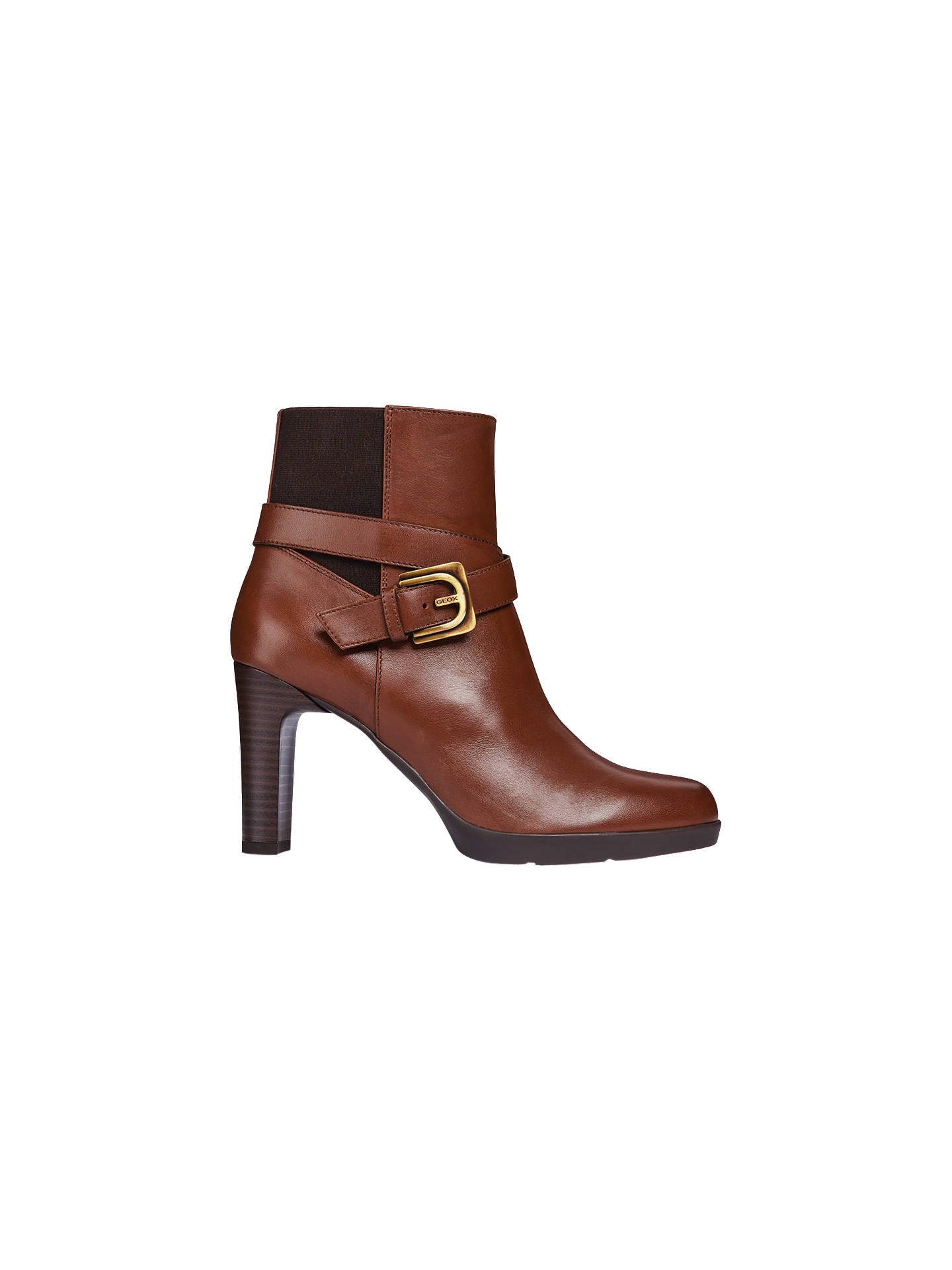 Geox Annya Mid Block Heel Ankle Boots, Brown Leather at John