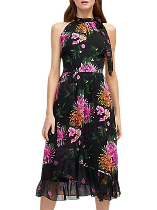 Warehouse Floral Print Halterneck Dress, Multi