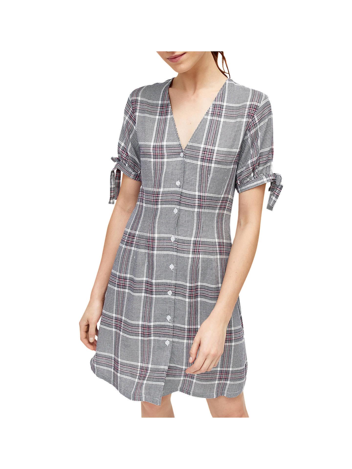 bcea5aa360695 Buy Warehouse Check Print Tea Dress, Grey, 6 Online at johnlewis.com ...
