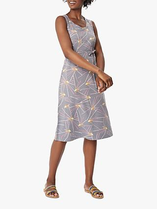 White Stuff Agnes Bird Pattern Jersey Midi Dress, Grey