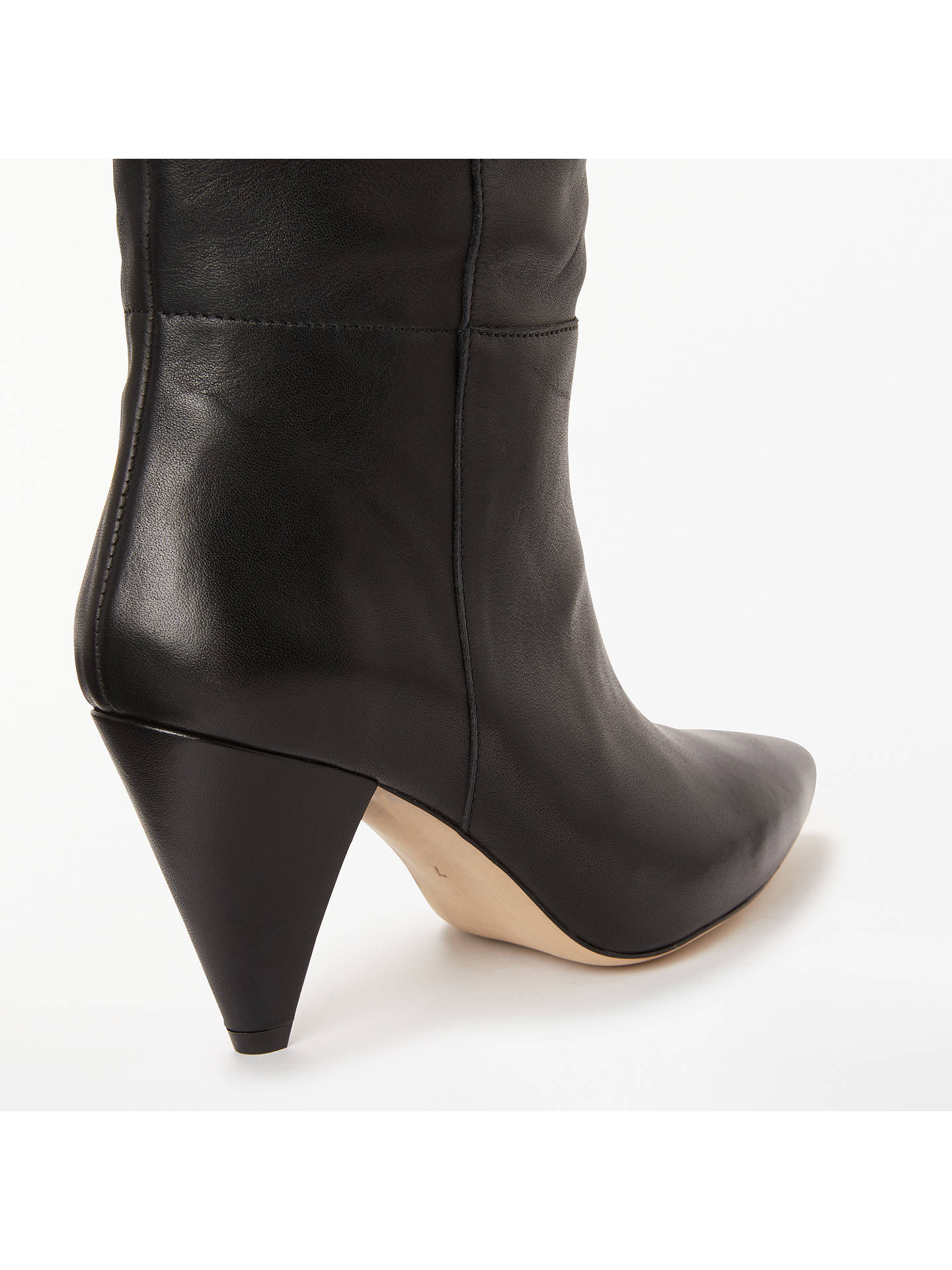 BuyKin Sibylla Leather Cone Heel Knee High Boots, Black, 6 Online at johnlewis.com