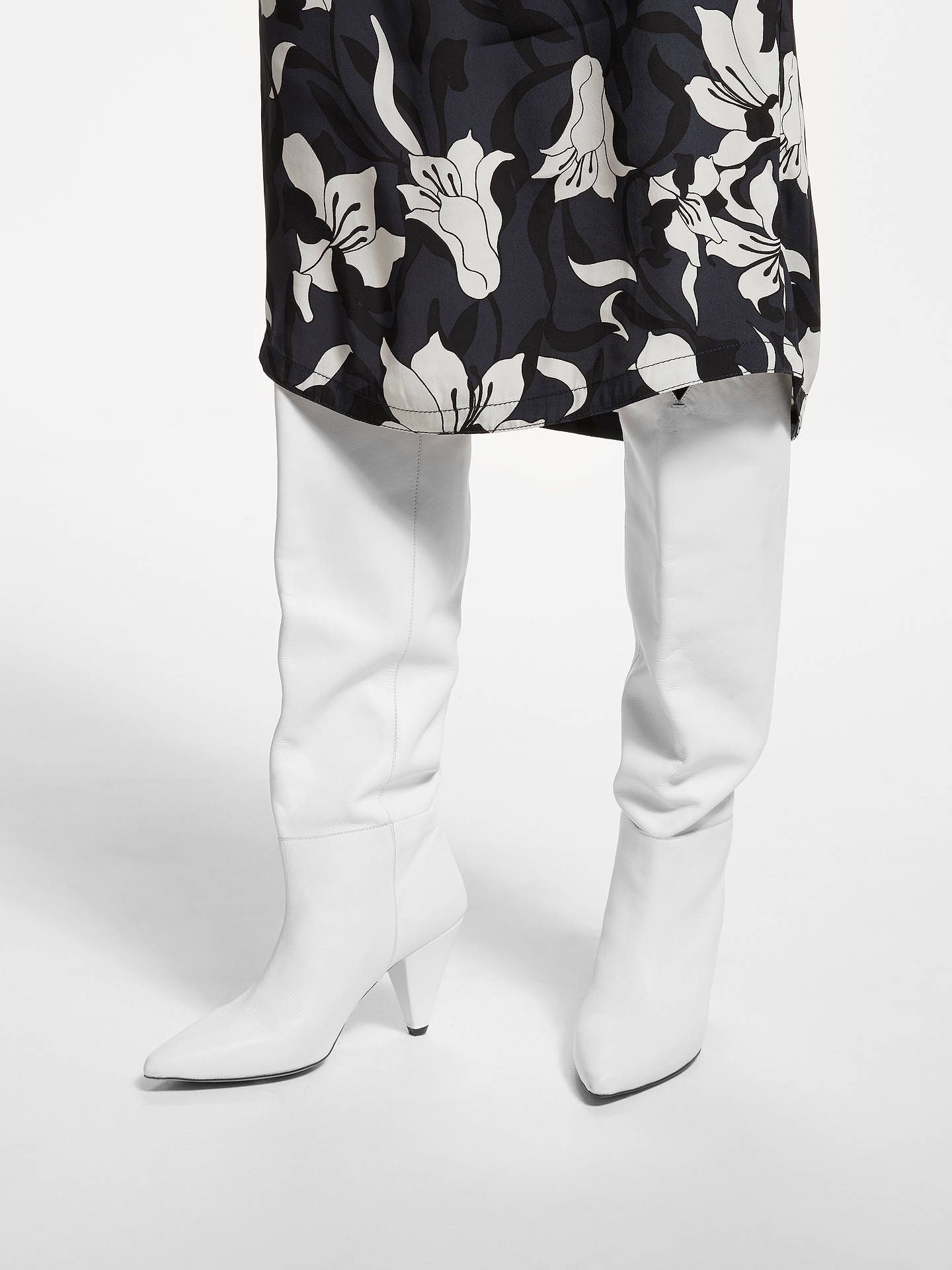 BuyKin Sibylla Leather Cone Heel Knee High Boots, White, 4 Online at johnlewis.com