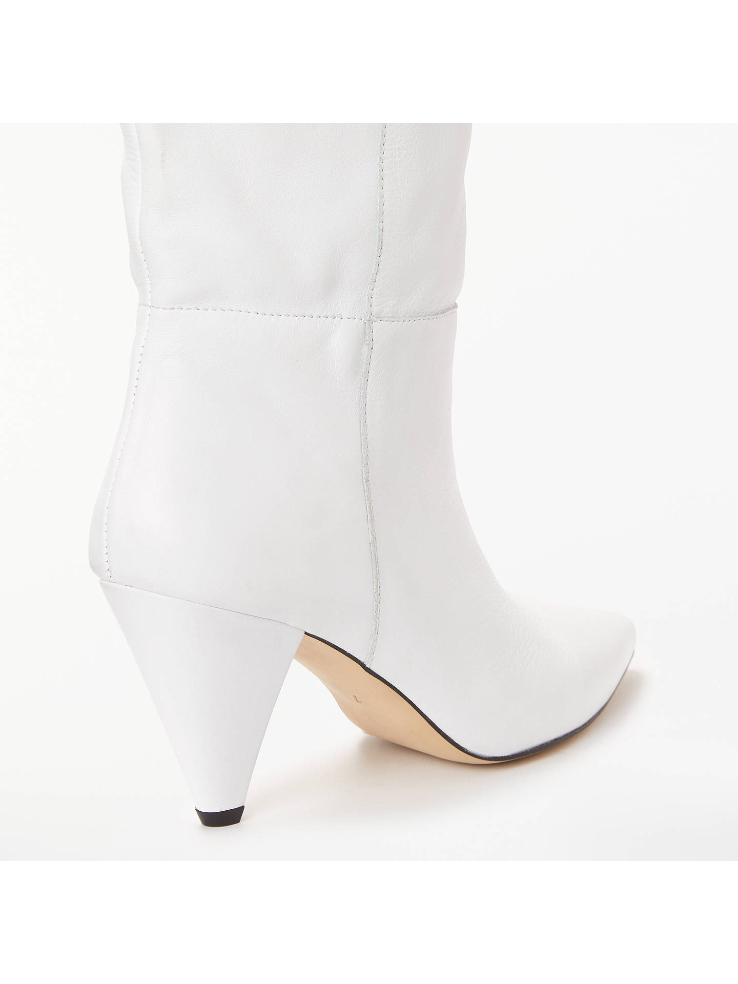 BuyKin Sibylla Leather Cone Heel Knee High Boots, White, 7 Online at johnlewis.com