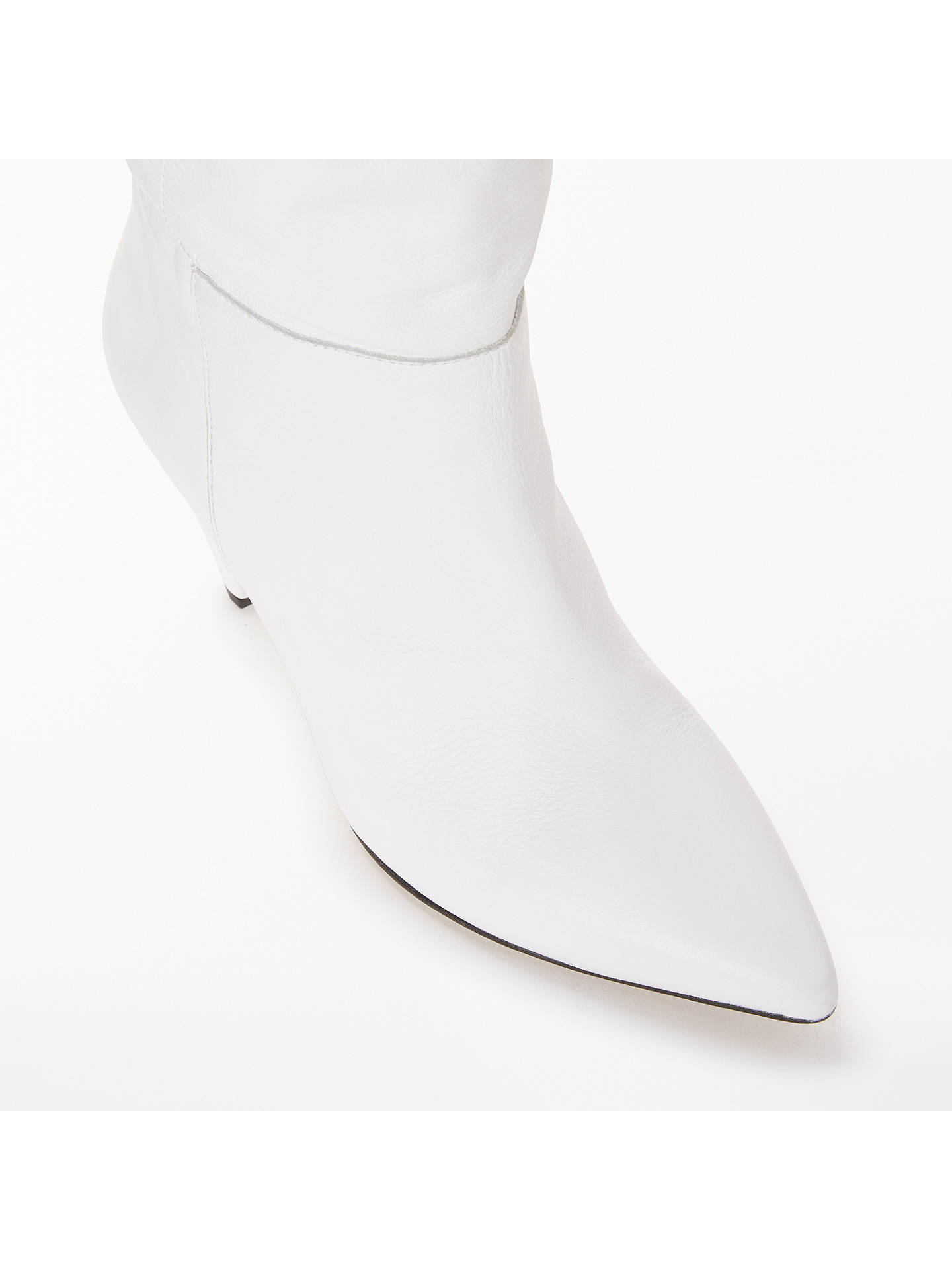 BuyKin Sibylla Leather Cone Heel Knee High Boots, White, 6 Online at johnlewis.com