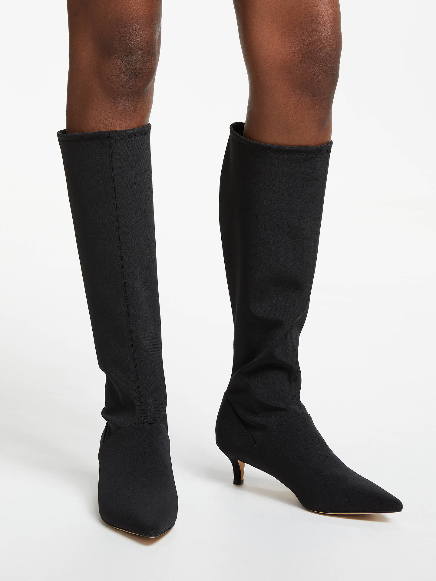 BuyBoden Kitten Heel Stretch Knee Boots, Black, 6 Online at johnlewis.com