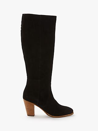 Boden Temple Knee High Boots, Black Suede