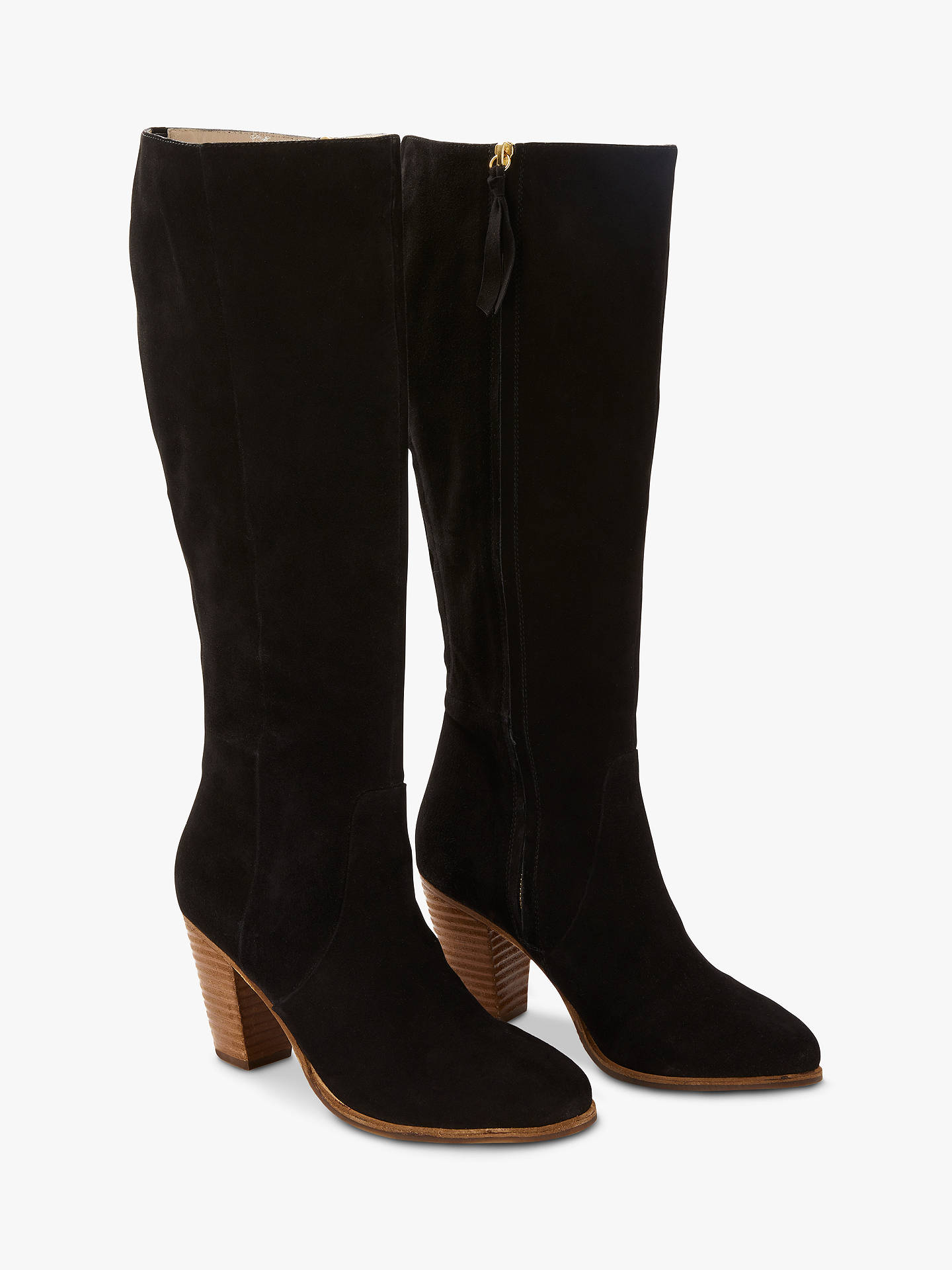 BuyBoden Temple Knee High Boots, Black Suede, 4 Online at johnlewis.com