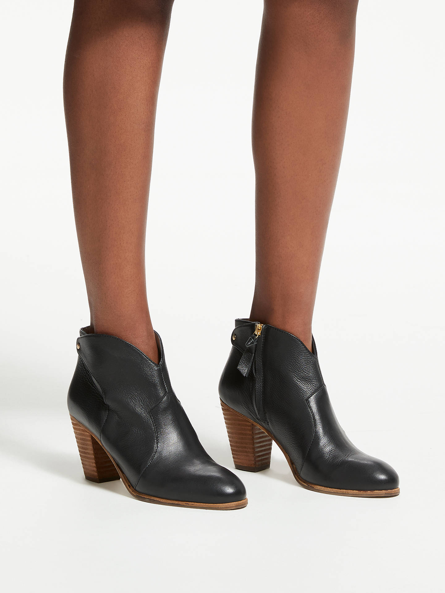 Buy Boden Hoxton Block Heeled Ankle Boots, Black Leather, 5 Online at johnlewis.com