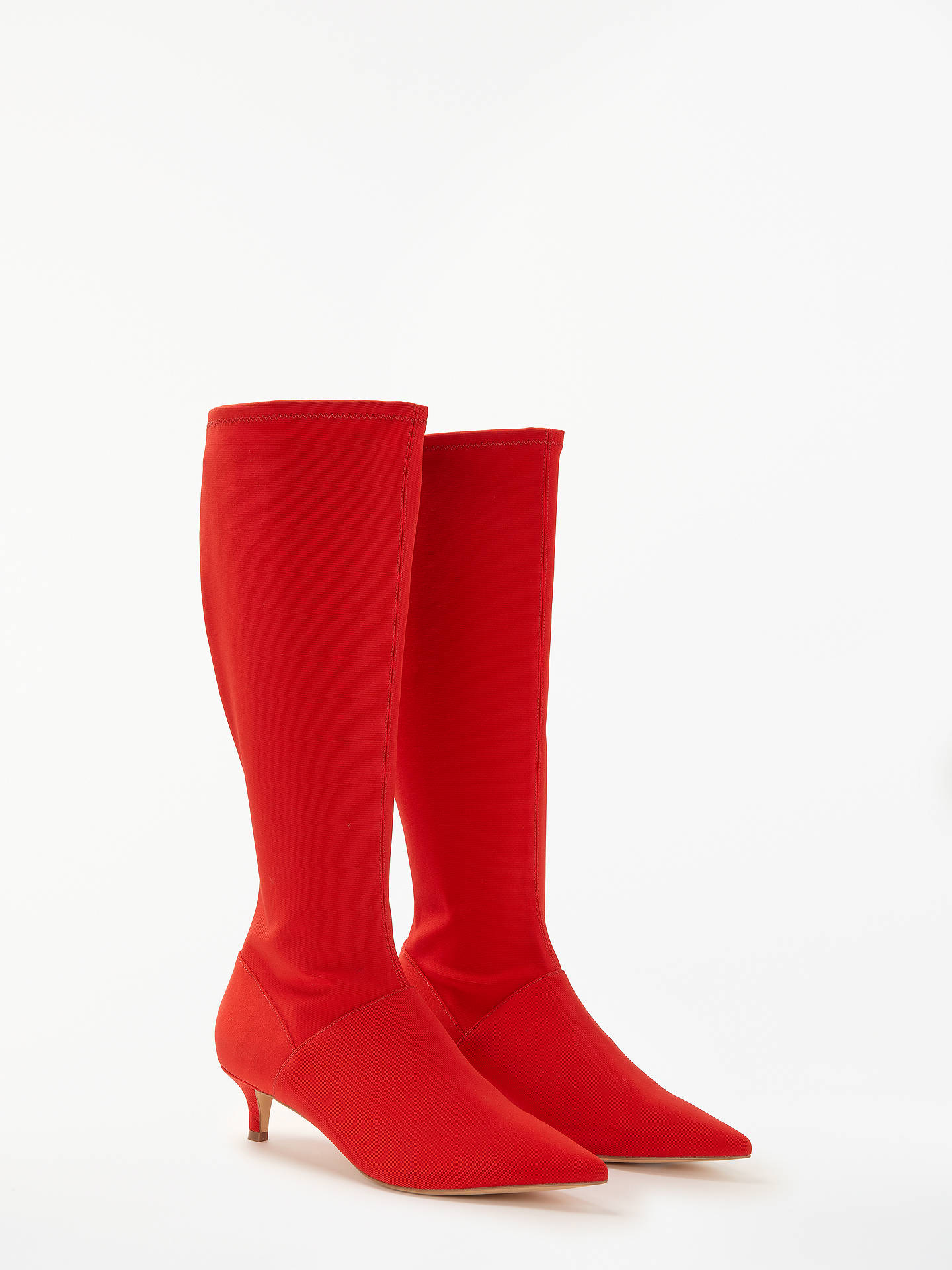 BuyBoden Kitten Heel Stretch Boots, Post Box Red, 4 Online at johnlewis.com