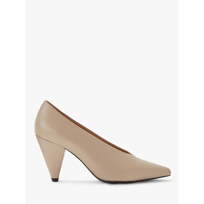 Kin Ansa Leather Cone Heel Court Shoes, Natural