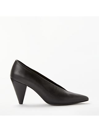 Kin Ansa Leather Cone Heel Court Shoes, Black