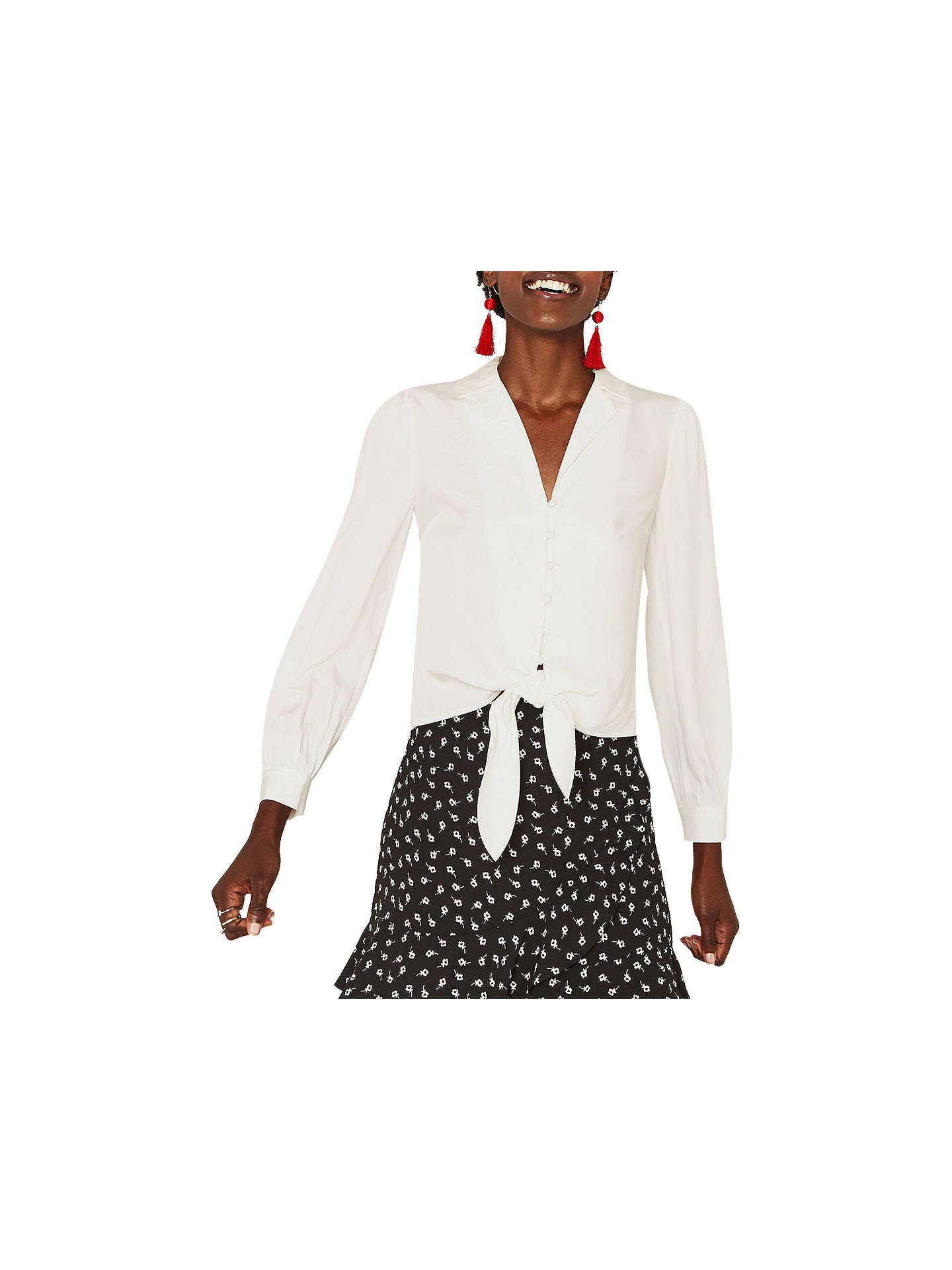 a1e2880a3477 Buy Oasis Tie Front Shirt, Off White, 10 Online at johnlewis.com ...