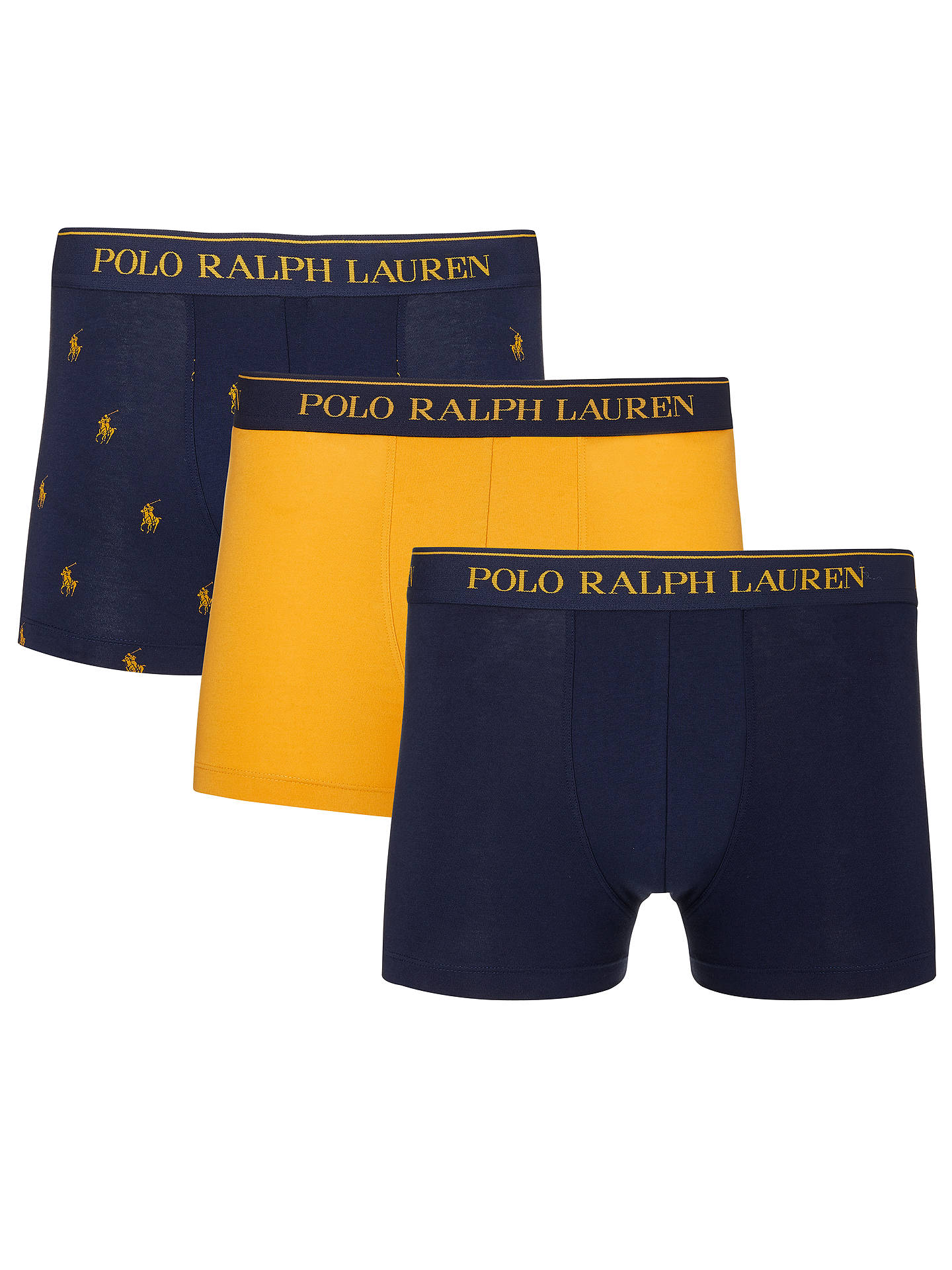 dc4b22562741 Polo Ralph Lauren Pony Logo Trunks, Pack of 3, Navy/Yellow at John ...