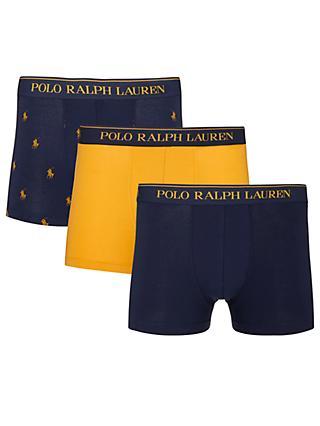 Polo Ralph Lauren Pony Logo Trunks, Pack of 3, Navy/Yellow