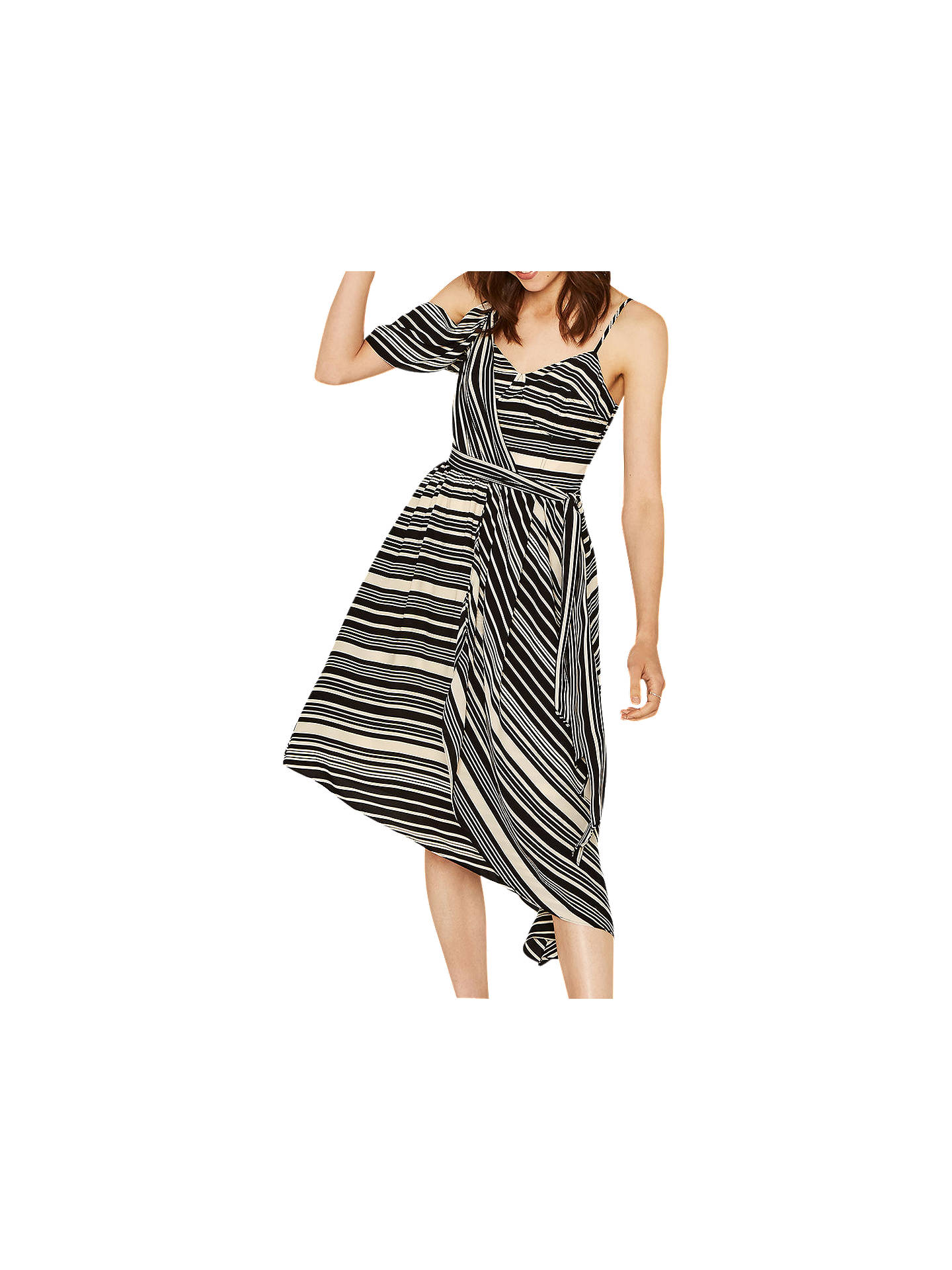 2a79ac24ce46 Buy Oasis Asymmetric Midi Dress, Black/White, 6 Online at johnlewis.com ...