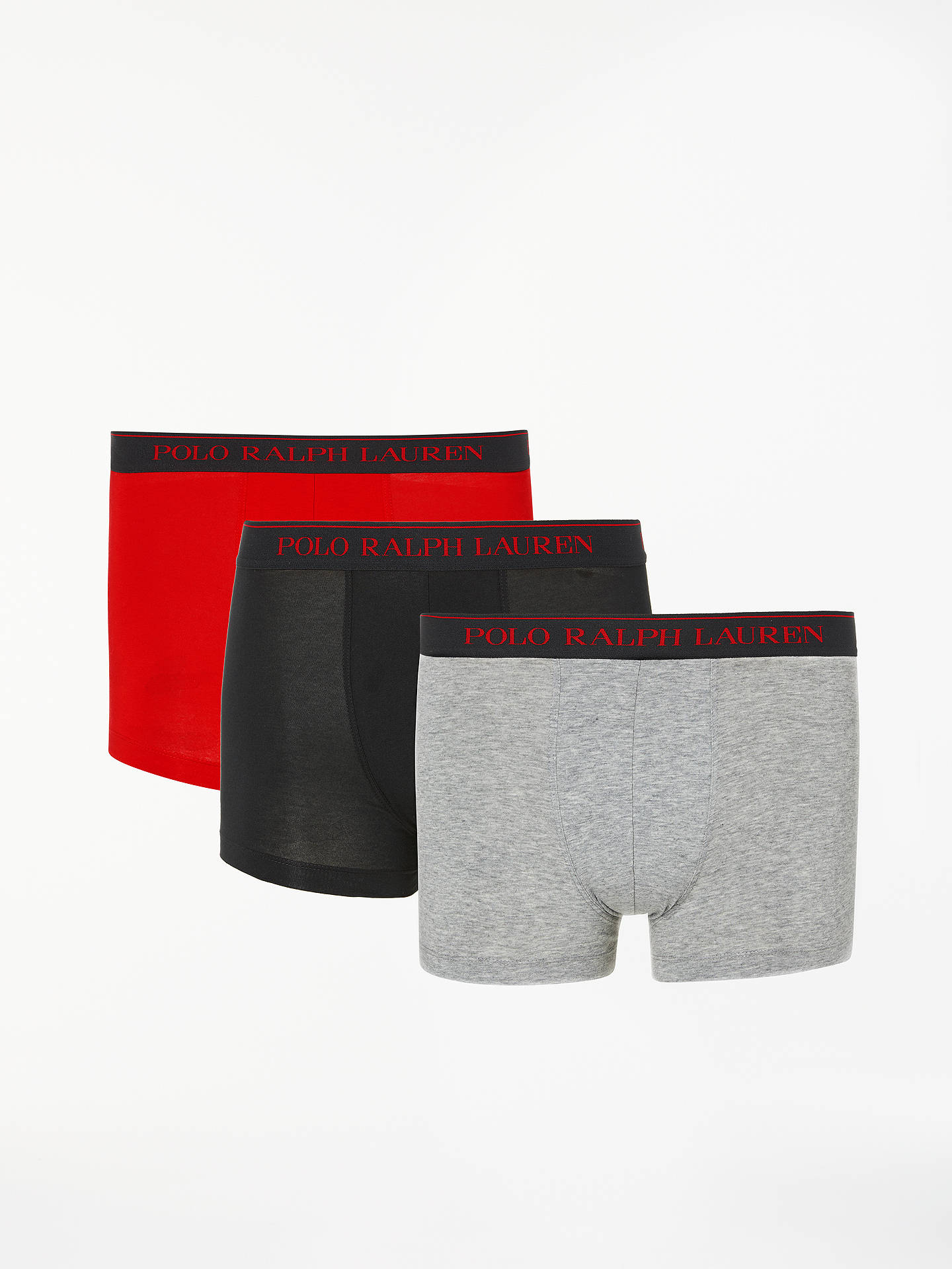 Buy Polo Ralph Lauren Cotton Trunks, Pack of 3, Red/Navy/Grey, S Online at johnlewis.com