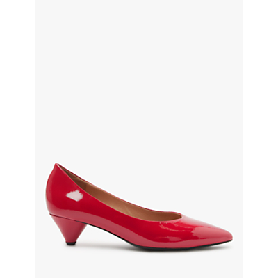Kin Ara Cone Heel Court Shoes, Red Leather