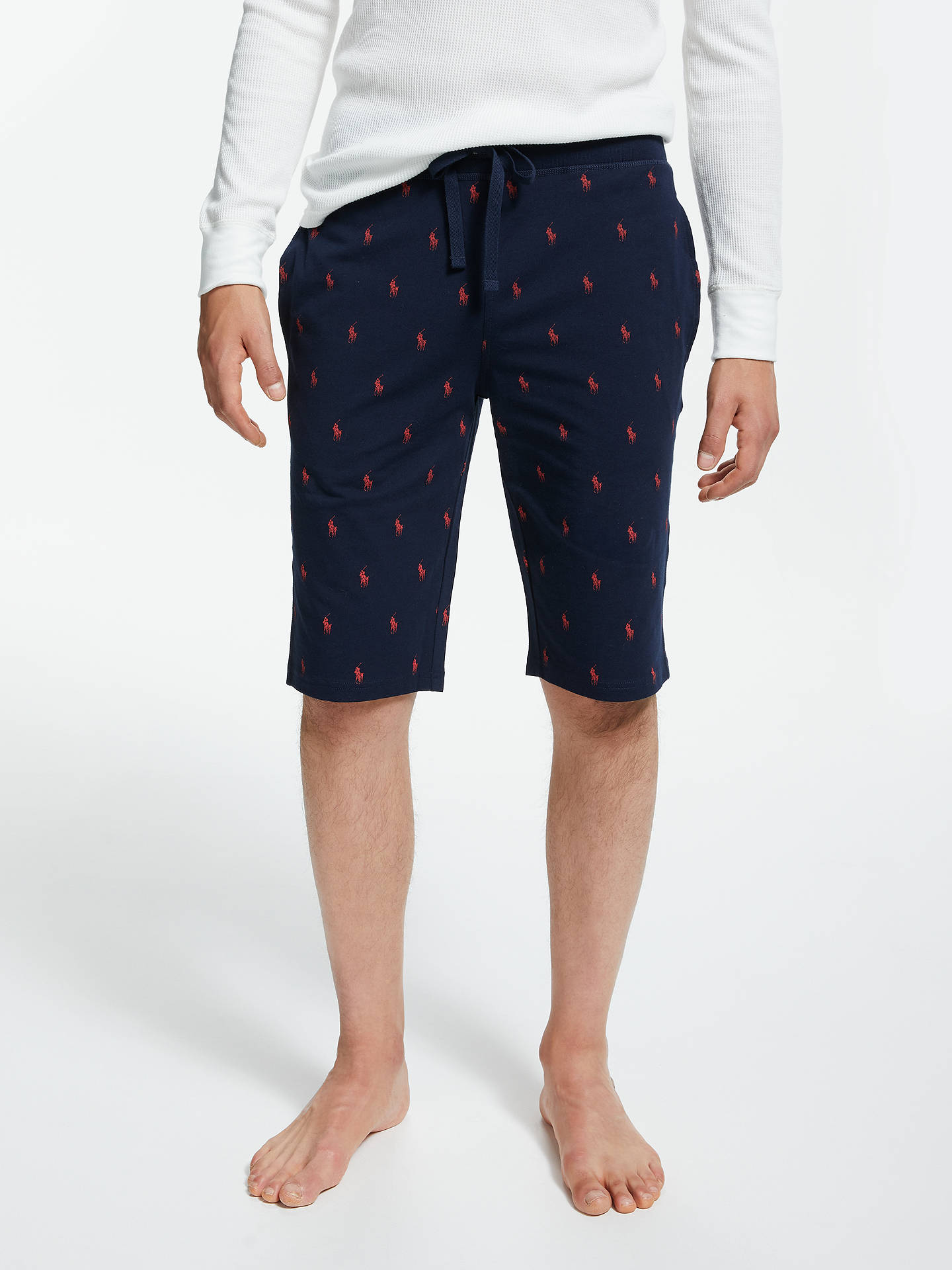 Buy Polo Ralph Lauren Pony Print Lounge Shorts, Navy/Red, S Online at johnlewis.com