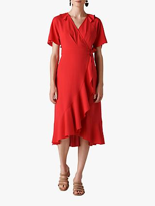 Whistles Abigail Frill Wrap Dress, Red